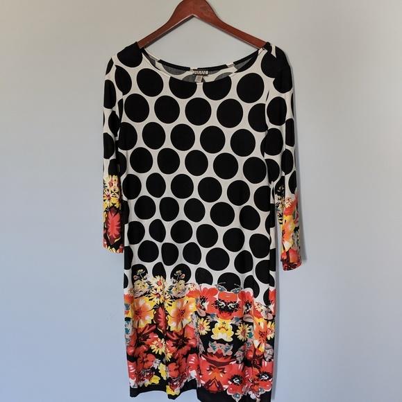 Haani Dresses & Skirts - HAANI polka dot dress with floral border trim